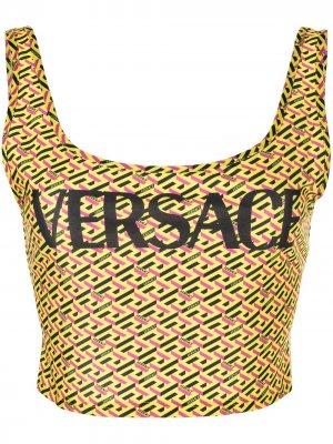 La Greca-print bikini top Versace. Цвет: желтый