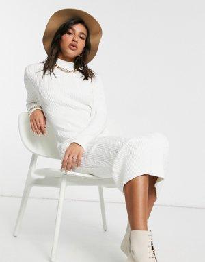 Кремовое вязаное платье мидакси -Белый Skylar Rose