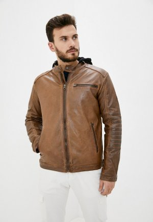 Куртка кожаная Indicode Jeans Peter. Цвет: коричневый