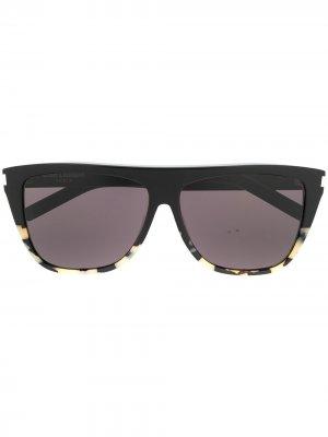 Солнцезащитные очки в стиле ретро Saint Laurent Eyewear. Цвет: черный