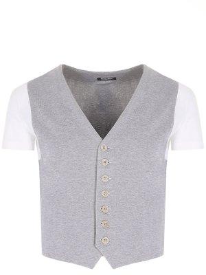 Хлопковый жилет-футболка Dirk Bikkembergs. Цвет: серый