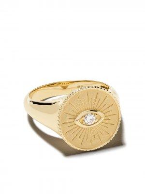 Золотой перстень с бриллиантом Sydney Evan. Цвет: желтый