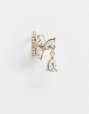 Золотистый кафф с кристаллами -Золотой ASOS DESIGN