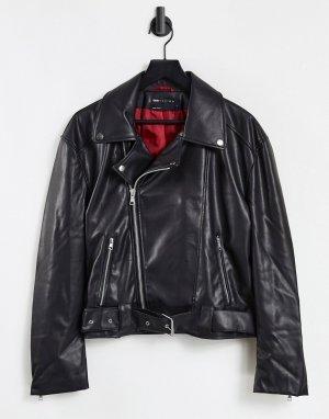 Укороченная байкерская куртка из искусственной кожи с ремнем -Черный цвет ASOS DESIGN