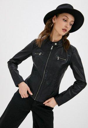 Куртка кожаная Only. Цвет: черный
