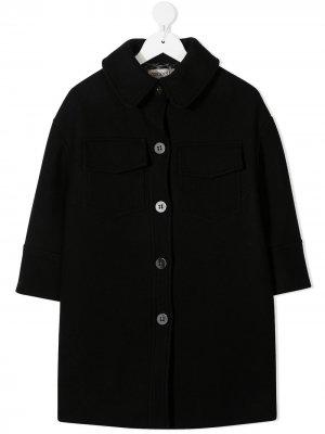 Фетровое пальто с заостренным воротником Simonetta. Цвет: черный