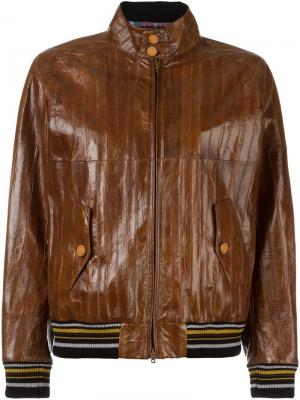 Куртка-бомбер с панельным дизайном Maison Margiela. Цвет: коричневый