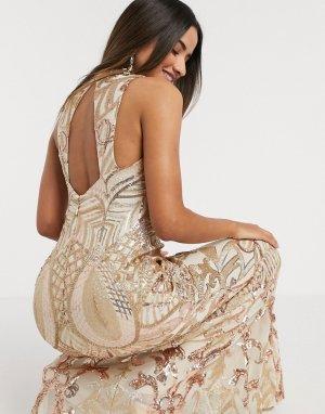 Золотистое платье макси с высоким воротом и пайетками Godddiva-Золотой Goddiva