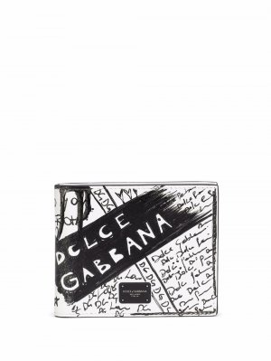Кошелек с принтом граффити Dolce & Gabbana. Цвет: белый