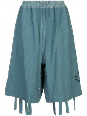 Расклешенные шорты с низким шаговым швом Bernhard Willhelm. Цвет: синий