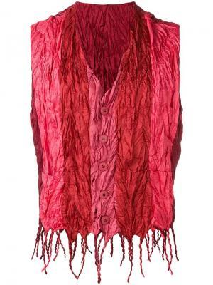 Жилет с эффектом мятой ткани Issey Miyake Vintage. Цвет: красный