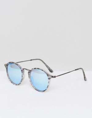 Круглые солнцезащитные очки в серой черепаховой оправе Selected Homme. Цвет: серый