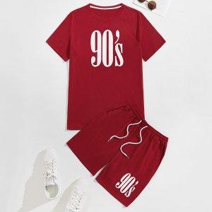 Мужская футболка с текстовым рисунком и спортивные шорты SHEIN. Цвет: бургундия