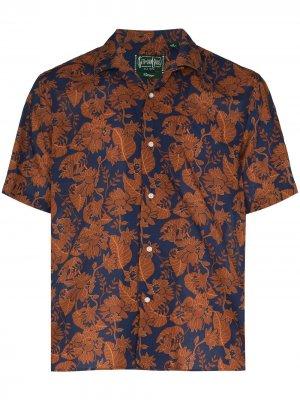 Рубашка с короткими рукавами и цветочным принтом Gitman Vintage. Цвет: коричневый