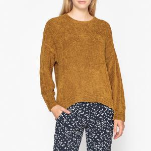 Пуловер с круглым вырезом из тонкого триотажа IKKS. Цвет: горчичный