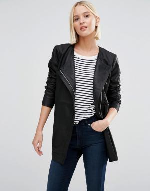 Удлиненная кожаная куртка Selected. Цвет: черный