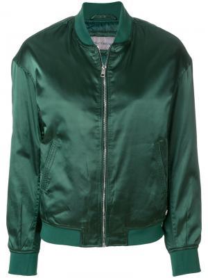Атласная куртка-бомбер Calvin Klein Jeans. Цвет: зелёный