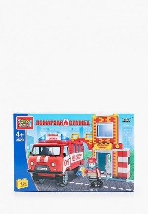 Конструктор Город Мастеров Пожарная станция с машиной, 150 деталей. Цвет: разноцветный