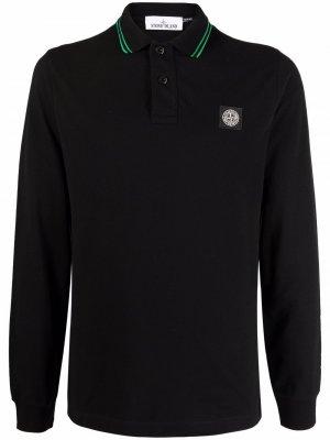Рубашка поло с нашивкой-логотипом Stone Island. Цвет: черный