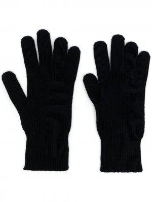 Шерстяные перчатки с нашивкой-логотипом Moncler. Цвет: синий