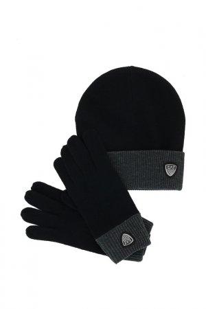 Комплект: перчатки, шапка Ea7. Цвет: черный
