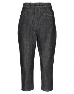 Джинсовые брюки-капри DRKSHDW by RICK OWENS. Цвет: черный