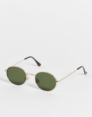 Овальные солнцезащитные очки в золотистой оправе -Золотистый Topman