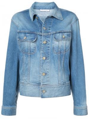 Джинсовая куртка с аппликацией Oscar de la Renta. Цвет: синий