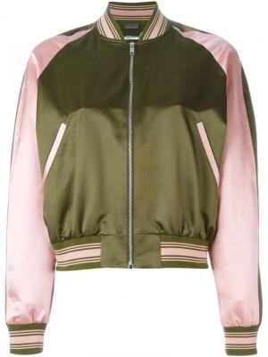Куртка-бомбер с вышивкой Alexander McQueen. Цвет: зелёный