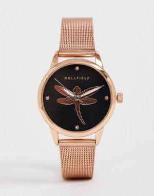 Женские часы с сетчатым браслетом цвета розового золота отделкой -Розовый Bellfield
