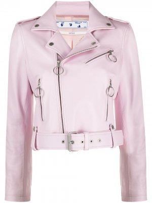 Байкерская куртка Liquid Melt Off-White. Цвет: розовый