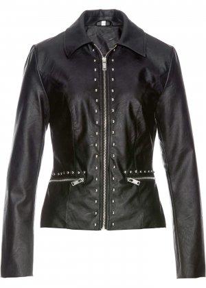 Куртка с заклепками, искусственная кожа bonprix. Цвет: черный