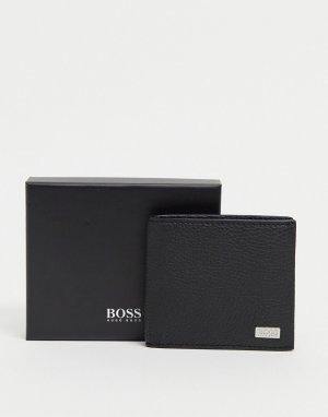 Черный бумажник из зернистой кожи с логотипом BOSS by Hugo