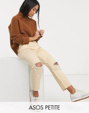 Лимонно-желтые рваные джинсы в винтажном стиле ASOS DESIGN Petite-Желтый Petite