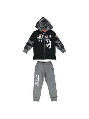Спортивный костюм (толстовка, брюки) IDO. Цвет: черный