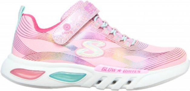 Кроссовки для девочек Glow-Brites, размер 31.5 Skechers. Цвет: розовый