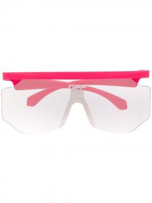 Солнцезащитные очки-маска с логотипом Off-White. Цвет: розовый
