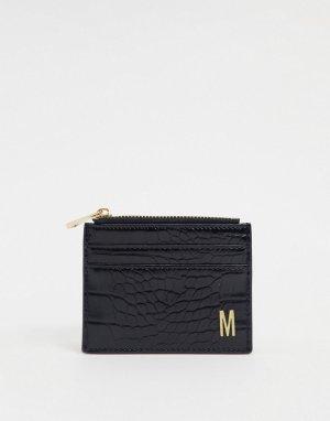 Черный кошелек и кредитница с эффектом крокодиловой кожи буквой M ASOS DESIGN