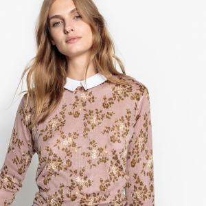 Пуловер с отложным воротником и цветочным рисунком LA REDOUTE COLLECTIONS. Цвет: рисунок/фон розовый