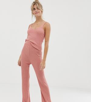 Расклешенные брюки в рубчик для дома -Розовый ASOS DESIGN