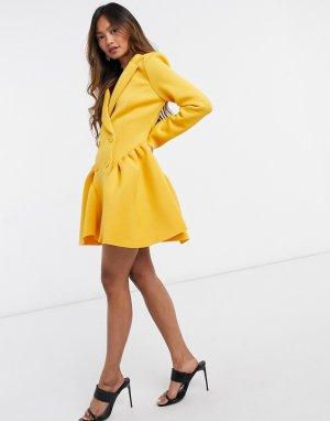 Платье мини в вечернем стиле горчичного цвета -Желтый ASOS DESIGN