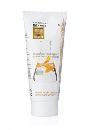 Кондиционер для волос Korres окрашенных с подсолнухом и гаультерией 200 мл. Цвет: белый