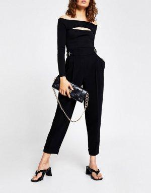 Черные брюки-галифе из твила -Черный цвет River Island