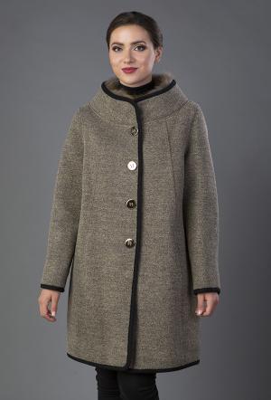 Драповое пальто средней длины на большой размер Visconf/Violanti. Цвет: орех