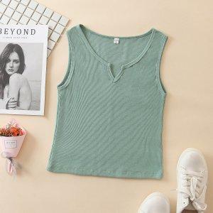 Мятно-зеленый Шнуровка С простым принтом Повседневный Майка SHEIN. Цвет: мятно-зеленый