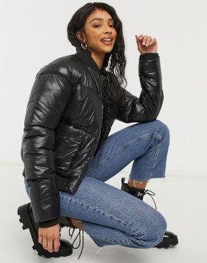 Блестящая женственная куртка-бомбер -Черный цвет Threadbare
