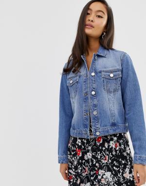 Выбеленная укороченная джинсовая куртка -Синий Miss Selfridge