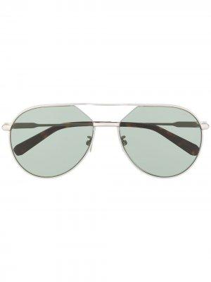 Солнцезащитные очки с двойным мостом Brioni. Цвет: серебристый