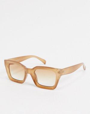 Квадратные солнцезащитные очки в прозрачной бежевой оправе -Бежевый AJ Morgan