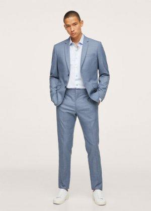 Костюмная рубашка slim fit из хлопка - Breda Mango. Цвет: небесно-голубой